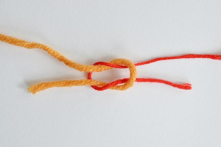 węzeł płaski 5 sposobów łączenia nici w robótce